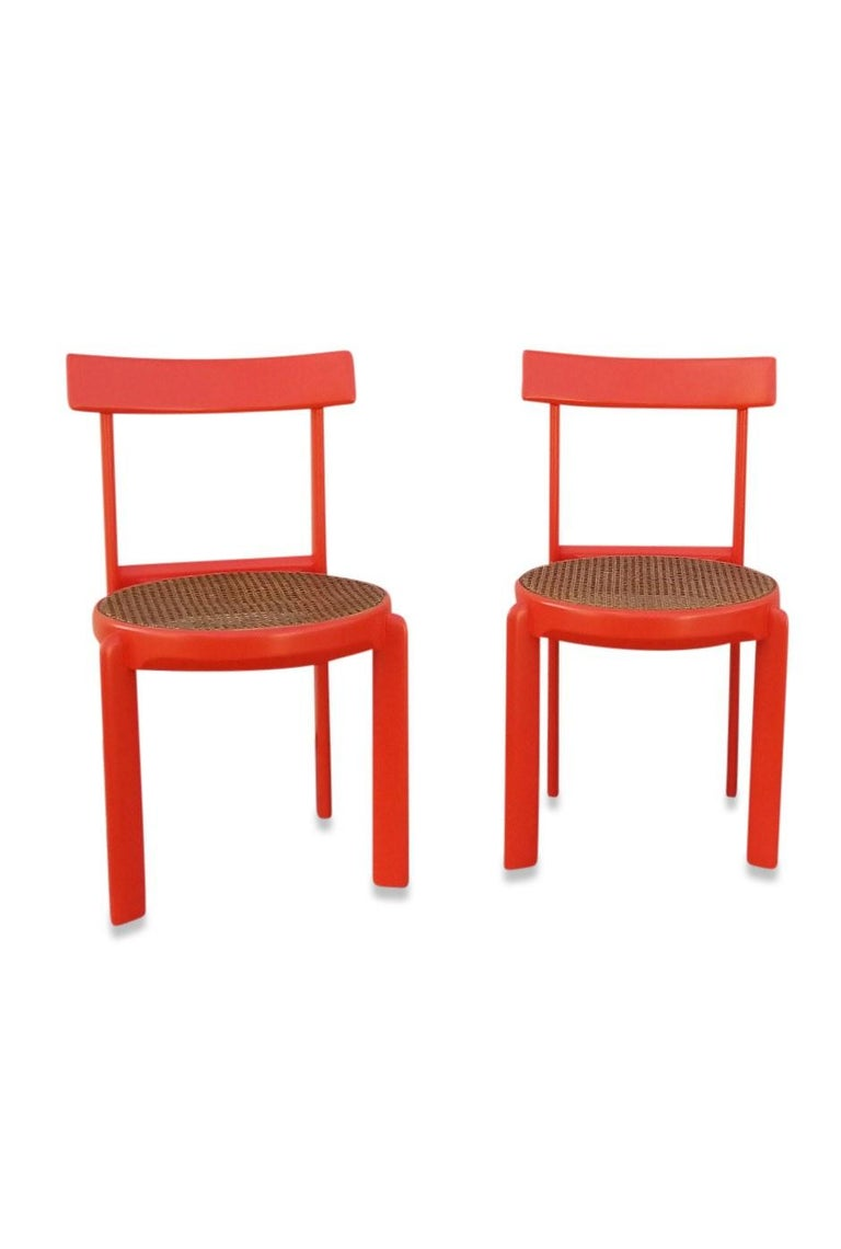 Unusual Set of two Caning and Orange Lacquer Chairs, France, 1970s For Sale 2