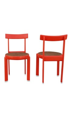 Unusual Set of two Caning and Orange Lacquer Chairs, France, 1970s