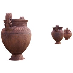 Unusual Set of Very Large Cast Iron Garden Urns