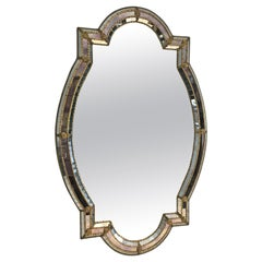 Unusual Shape Multi-Faceted Mirror with Mirrors Mosaics, Brass Flowers