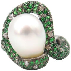 Unusual Shape Swirl Champagne Diamond Tsavorite South Sea Pearl Gold Ring
