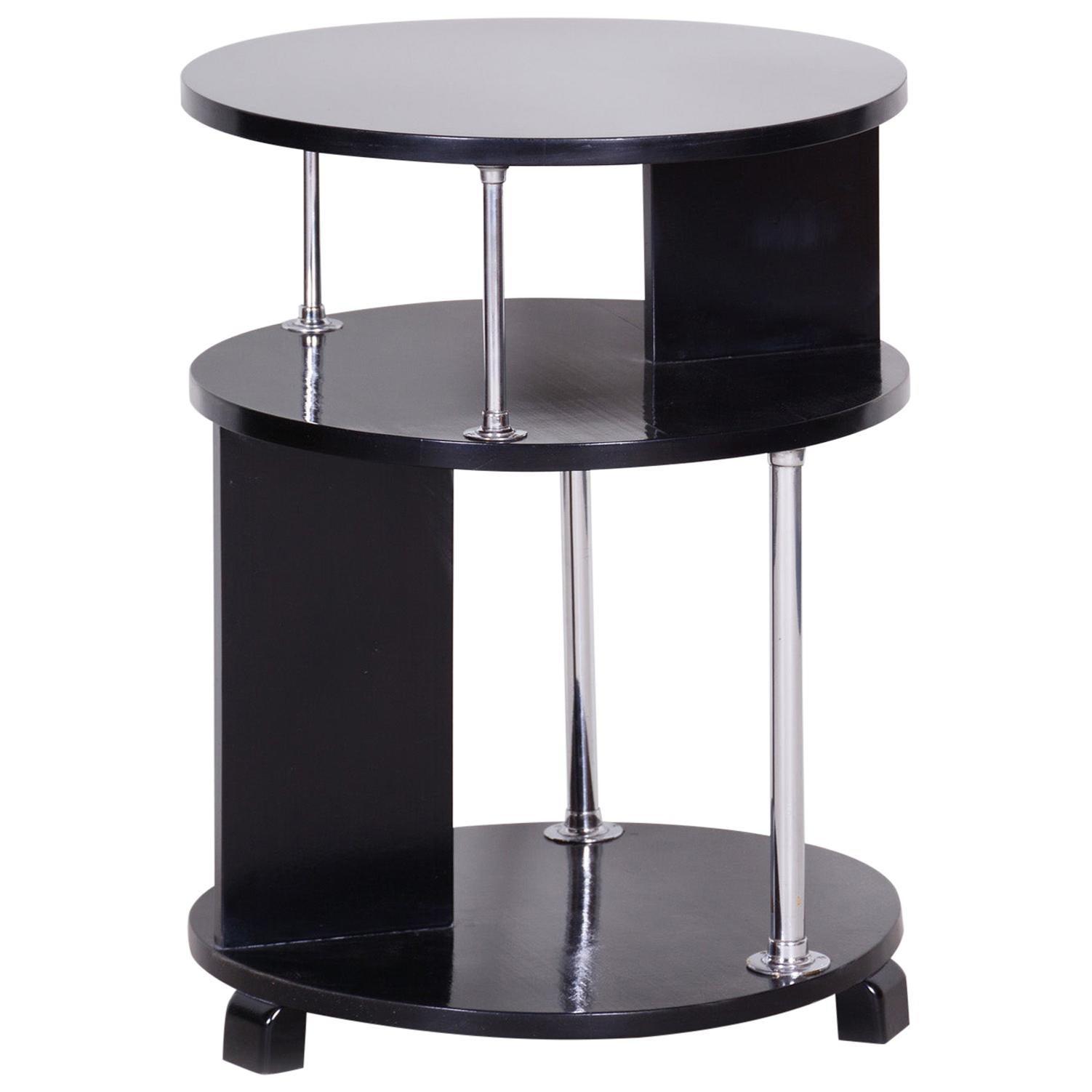 Unusual Small Czech Restored Round Black Beech Chrome Bauhaus Table, 1930s