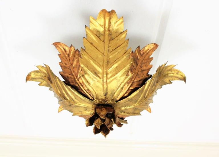 Gold Leaf Small Spanish Hollywood Regency Bicolor Floral Flush Mount Ceiling Light Fixture For Sale
