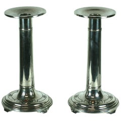 Unusual Sterling and Enamel Art Deco Candlesticks