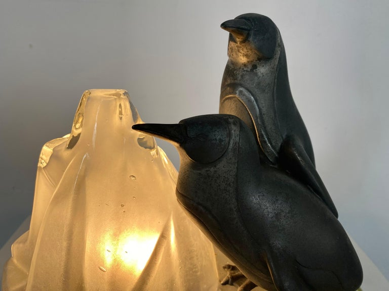 Mid-20th Century Unusual, Stylized Art Deco Penguin's and Glass Ice Glacier Table Lamp