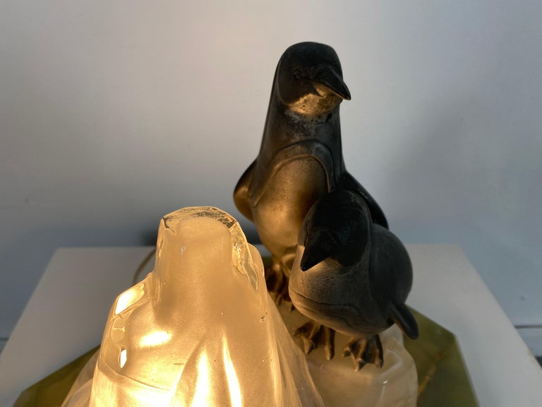 Unusual, Stylized Art Deco Penguin's and Glass Ice Glacier Table Lamp 1