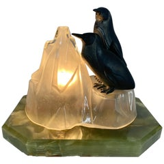 Unusual, Stylized Art Deco Penguin's and Glass Ice Glacier Table Lamp