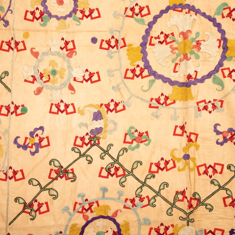 Silk Unusual Suzani Done on a Printed Cotton, Uzbekistan, Early 20th Century