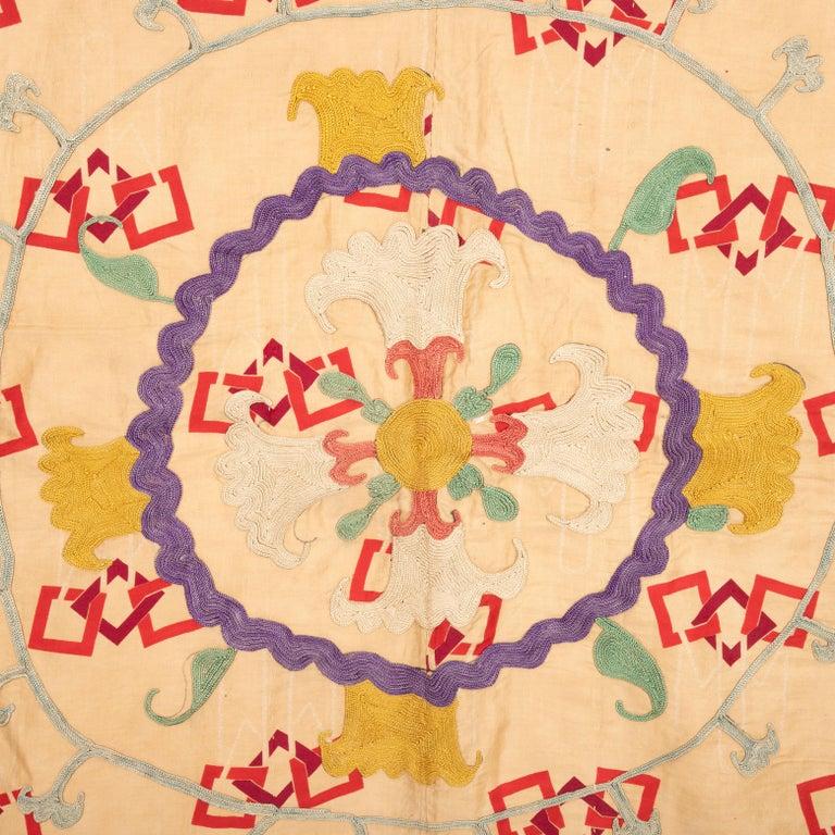 Unusual Suzani Done on a Printed Cotton, Uzbekistan, Early 20th Century 2
