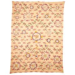Unusual Suzani Done on a Printed Cotton, Uzbekistan, Early 20th Century