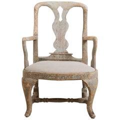 Ungewöhnlicher Schwedischer Barocker Stuhl in den Originalfarben