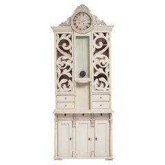 Unusual Swedish White Clock Bureau Cabinet