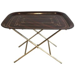 Unusual Tray Table in Brass with a Lacquer Tole Top, circa 1950