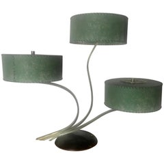 Unusual Triple Shade Table Lamp,,Majestic Lamp Company,,Green Fiberglass Shades