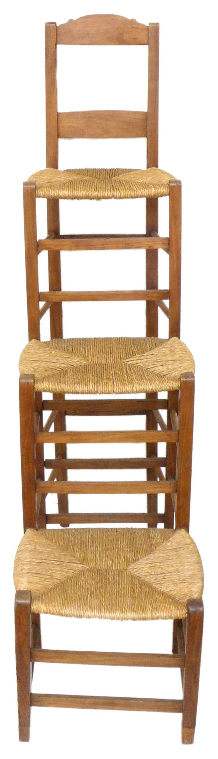 American Unusual Triple-Stepped Wood and Woven Rush Chair For Sale