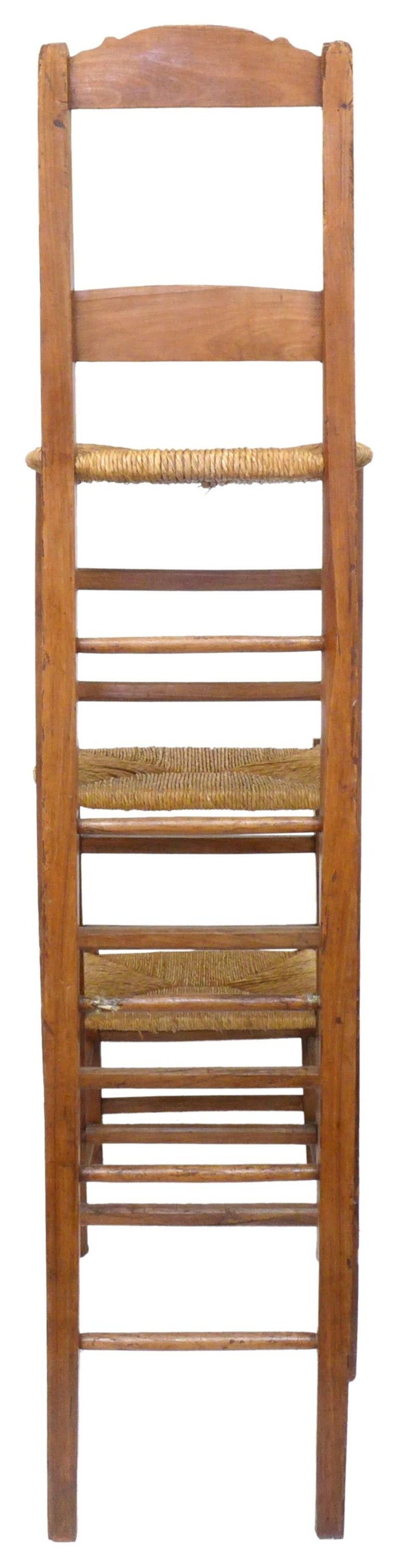 Unusual Triple-Stepped Wood and Woven Rush Chair In Good Condition For Sale In Los Angeles, CA