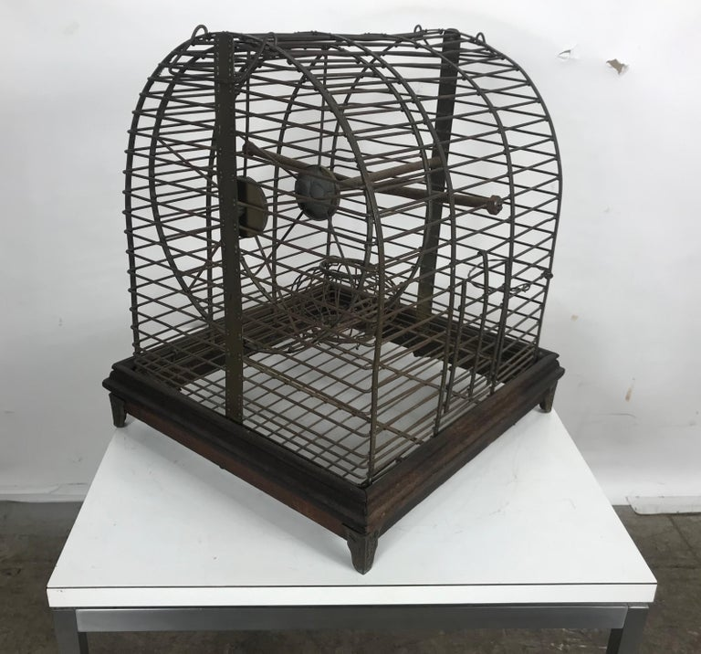 American Unusual Turn of the Century Industrial Brass Small Animal Cage with Wheel For Sale