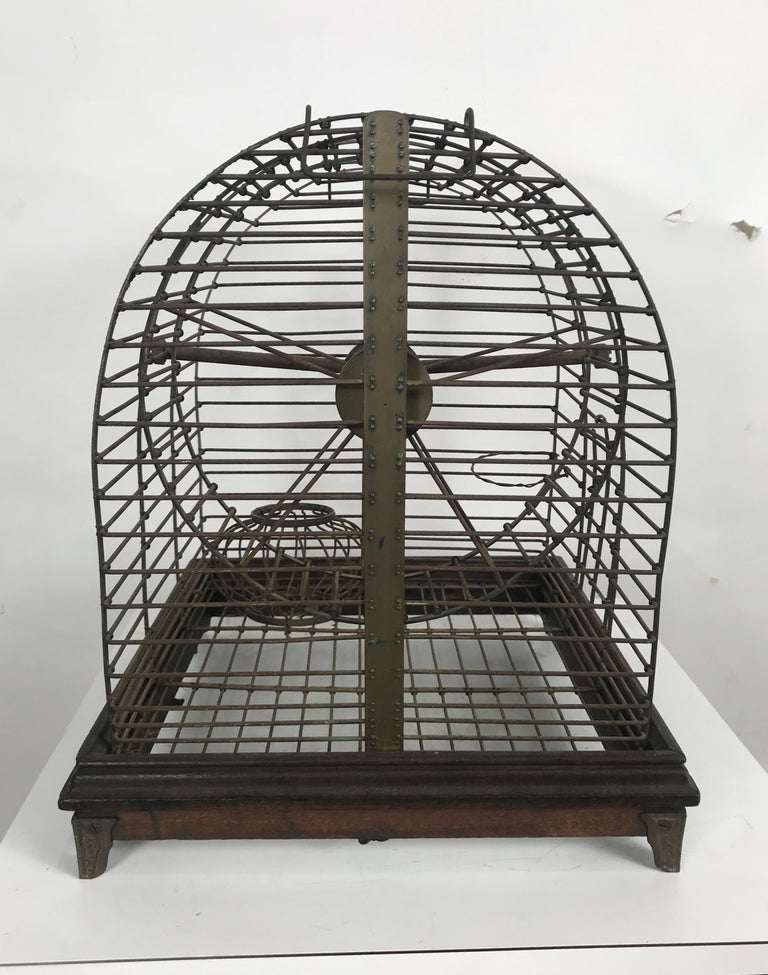 Early 20th Century Unusual Turn of the Century Industrial Brass Small Animal Cage with Wheel For Sale