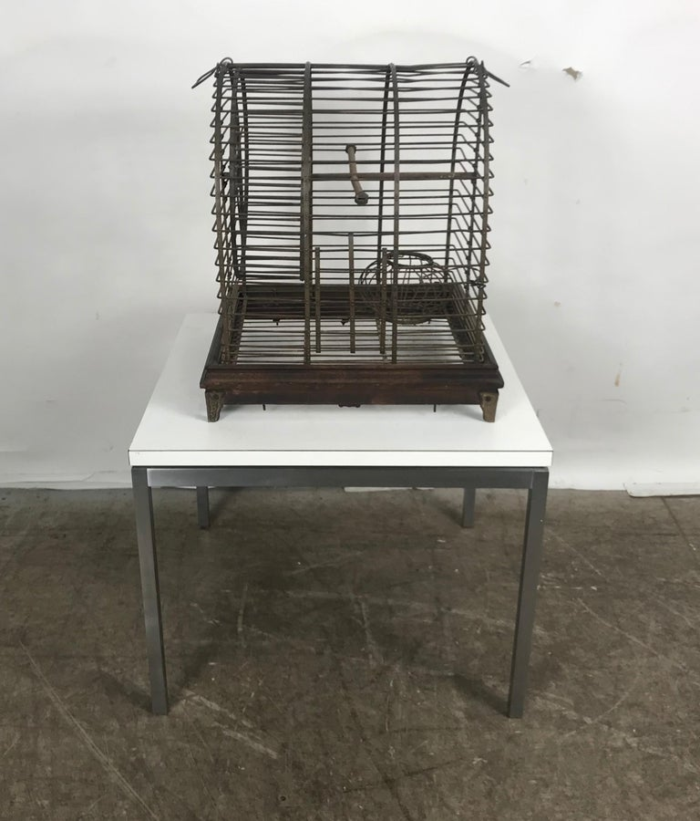 Unusual Turn of the Century Industrial Brass Small Animal Cage with Wheel For Sale 3