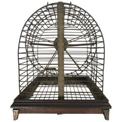 Unusual Turn of the Century Industrial Brass Small Animal Cage with Wheel
