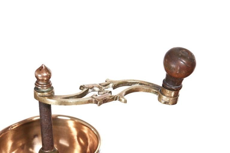 European Unusual Victorian Brass Coffee Grinder For Sale