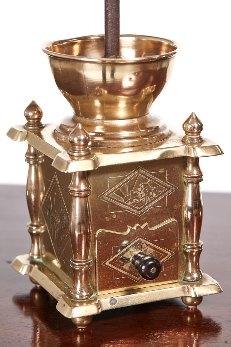 Unusual Victorian Brass Coffee Grinder In Excellent Condition For Sale In Stutton, GB