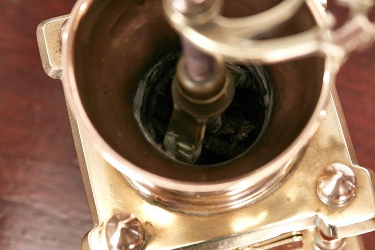 Unusual Victorian Brass Coffee Grinder For Sale 1