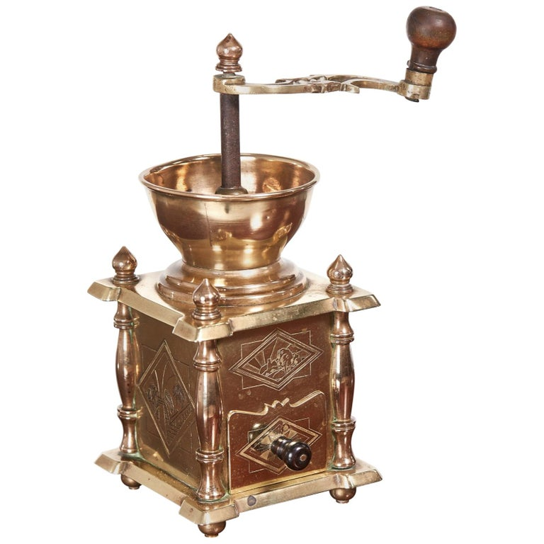 Unusual Victorian Brass Coffee Grinder For Sale