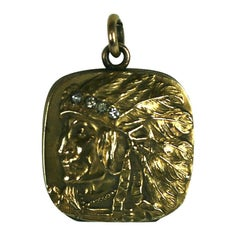 Unusual Victorian Locket Native American Motif