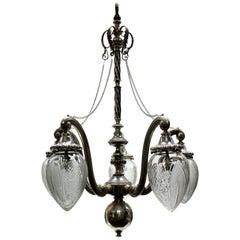 Unusual Victorian Silver Pendant Light