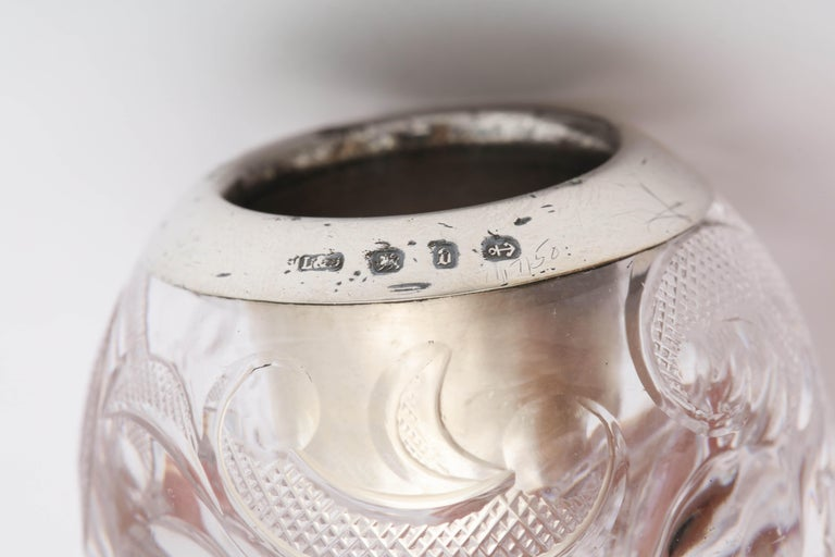Unusual, Victorian Sterling Silver-Mounted Footed Crystal Match Striker For Sale 5