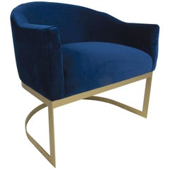 Unusual Vintage Cantilever Blue Lounge Chair