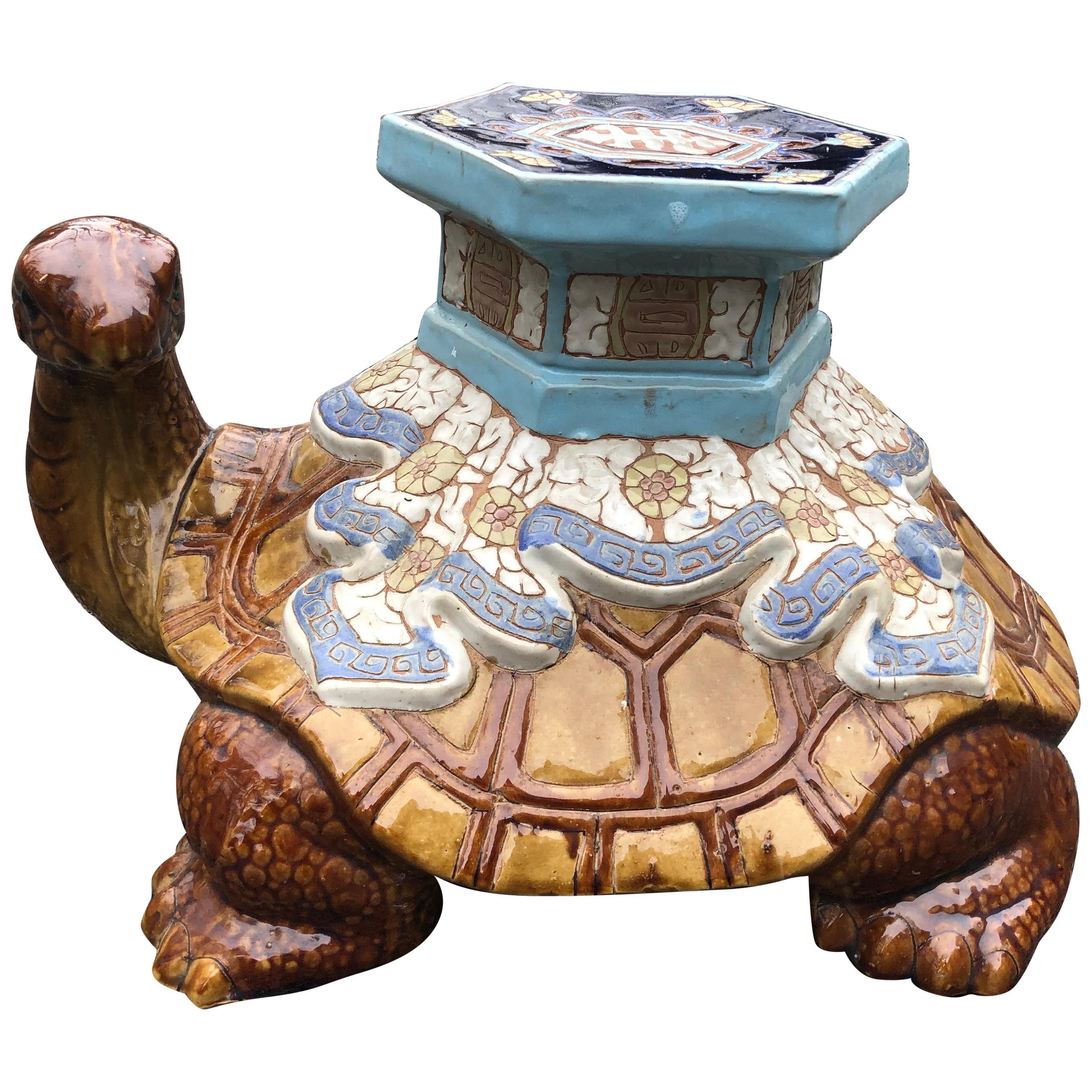 Unusual Vintage Ceramic Turtle Garden Seat End Table