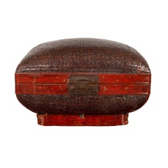 Unusual Vintage Chinese Rattan Lacquered Pillow Basket with Handles