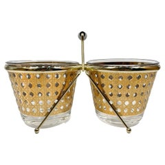 Unusual Vintage Culver Double Ice Bowls in the Canella Pattern with Metal Caddy
