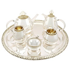 Unusual Vintage English Sterling Silver Six-Piece Tea and Coffee Service