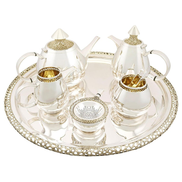 Unusual Vintage English Sterling Silver Six-Piece Tea and Coffee Service For Sale