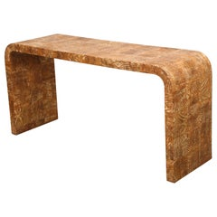Unusual Vintage Hand-Stenciled Bark Console Table