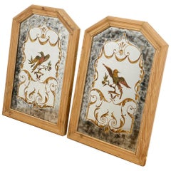 Unusual Vintage Mirrors with Gold Detail, 20th Century