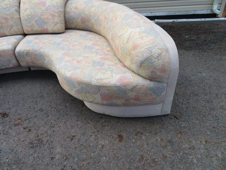 Unusual 2 Piece Curved Sectional Sofa Mid Century Modern