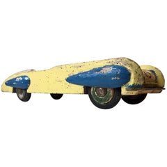 Unusual Wooden Streamline Toy Car with Dunlop Tires, Scandinavia, 1930s