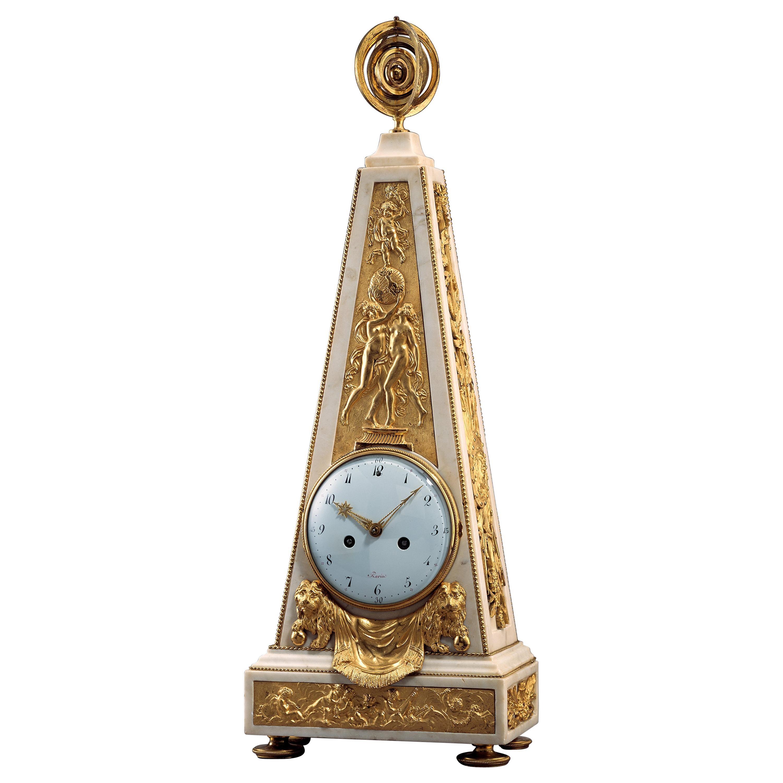 Unusually Large 18th Century Louis XVI Ormolu and Marble Obelisk Mantel Clock