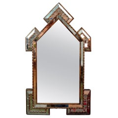 Unusually Shaped Antique Italian Giltwood Mirror with Inset Mirrored Pieces