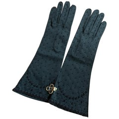Unworn 1960s Black Beaded Mid Length Gloves from Gimbels Department Store