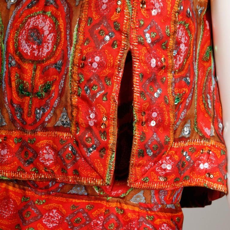 Unworn 1960s Oleg Cassini Vintage Silk + Sequin Embellished Cocktail Dress For Sale 5