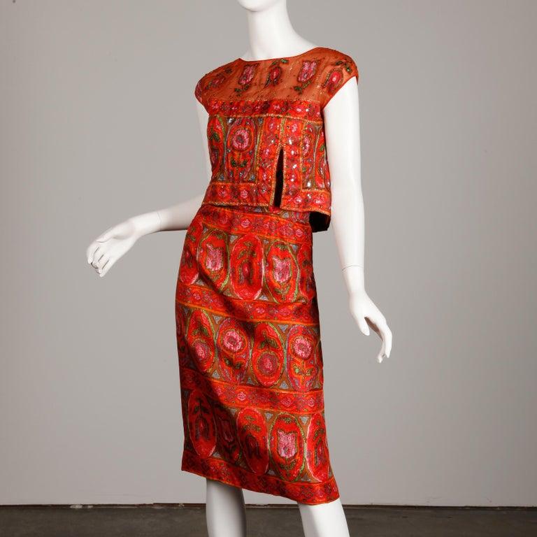 Red Unworn 1960s Oleg Cassini Vintage Silk + Sequin Embellished Cocktail Dress For Sale