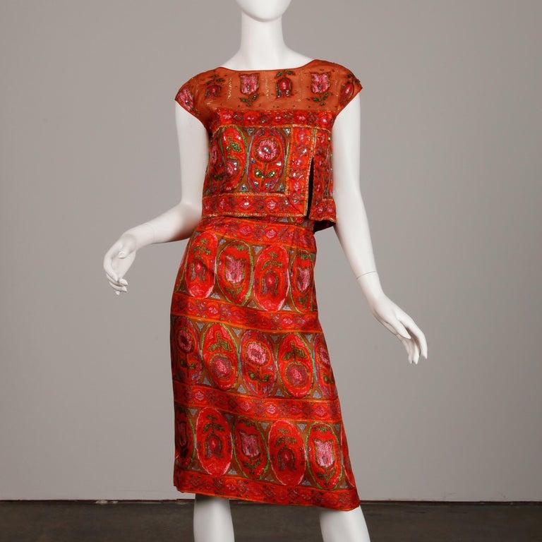 Women's Unworn 1960s Oleg Cassini Vintage Silk + Sequin Embellished Cocktail Dress For Sale