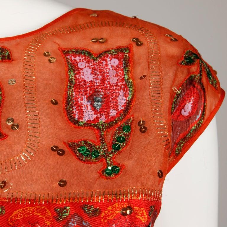 Unworn 1960s Oleg Cassini Vintage Silk + Sequin Embellished Cocktail Dress For Sale 1