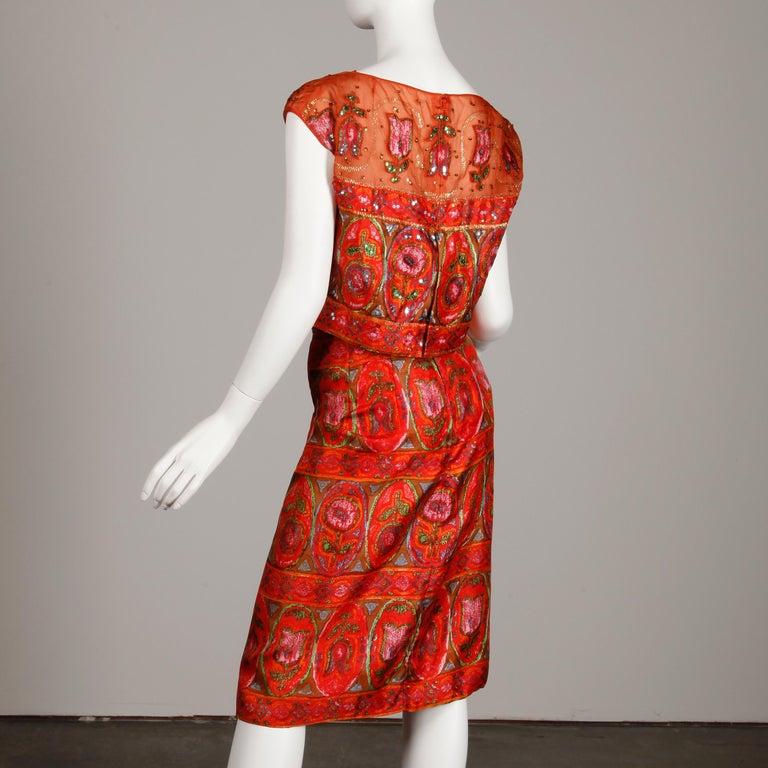Unworn 1960s Oleg Cassini Vintage Silk + Sequin Embellished Cocktail Dress For Sale 2