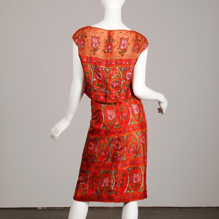 Unworn 1960s Oleg Cassini Vintage Silk + Sequin Embellished Cocktail Dress For Sale 4